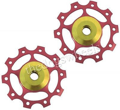 One23 Red Alloy Jockey Pulley Wheels 10T 7075 T6 MTB Bicycle Bike 10 Teeth