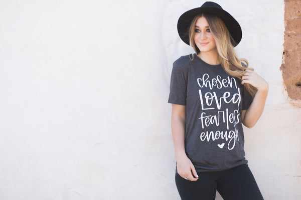 chosen loved fearless enough charcoal tee www.karlastorey.com