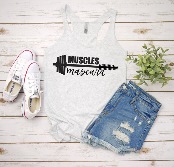 muscles and mascara white racerback tank www.karlastorey.com