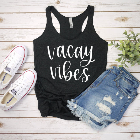 vacay vibes charcoal tank www.karlastorey.com
