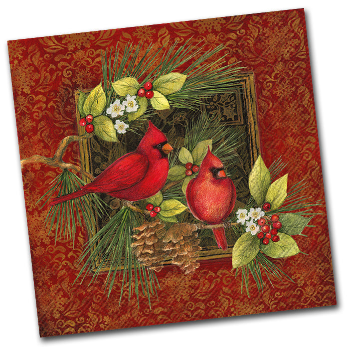 Botanical Christmas Birds Luncheon Napkin