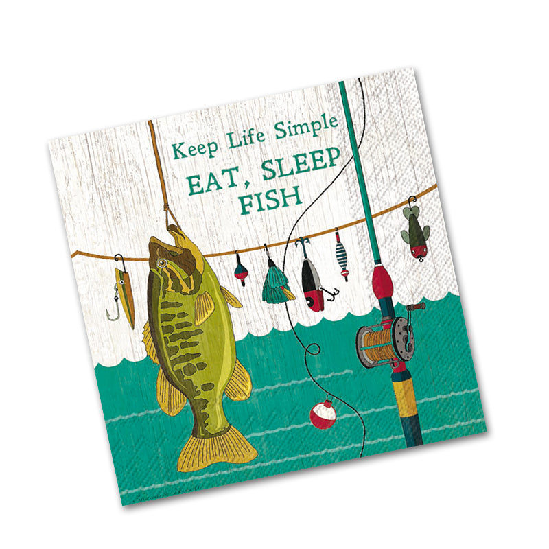 Eat Sleep Fish Beverage Napkins