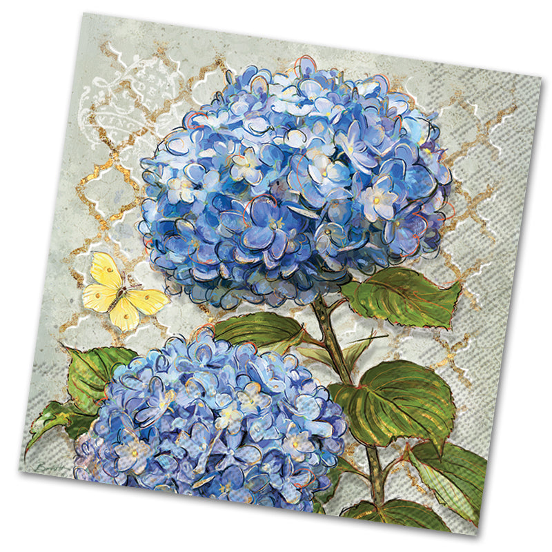 Blue Heirloom Hydrangea Luncheon Napkins