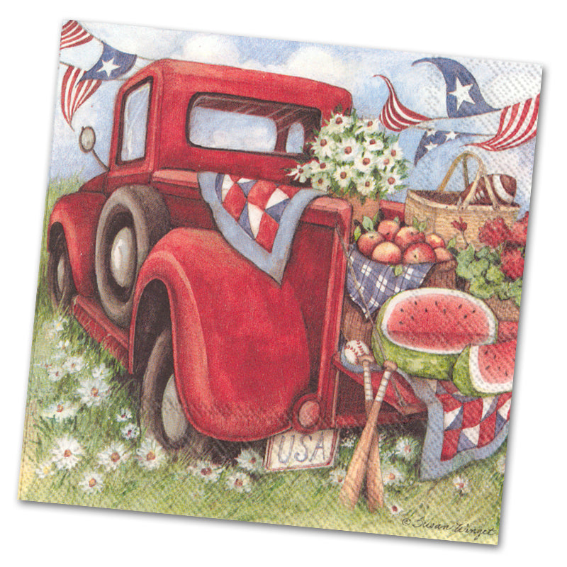 Red Truck Picnic Paper Luncheon Napkins