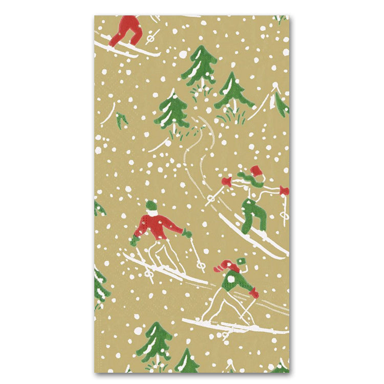 Winter Sports Guest Towels - Buffet Napkins - Gold