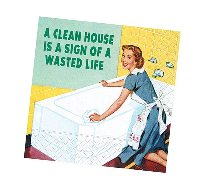 A Clean House Funny Cocktail Napkins