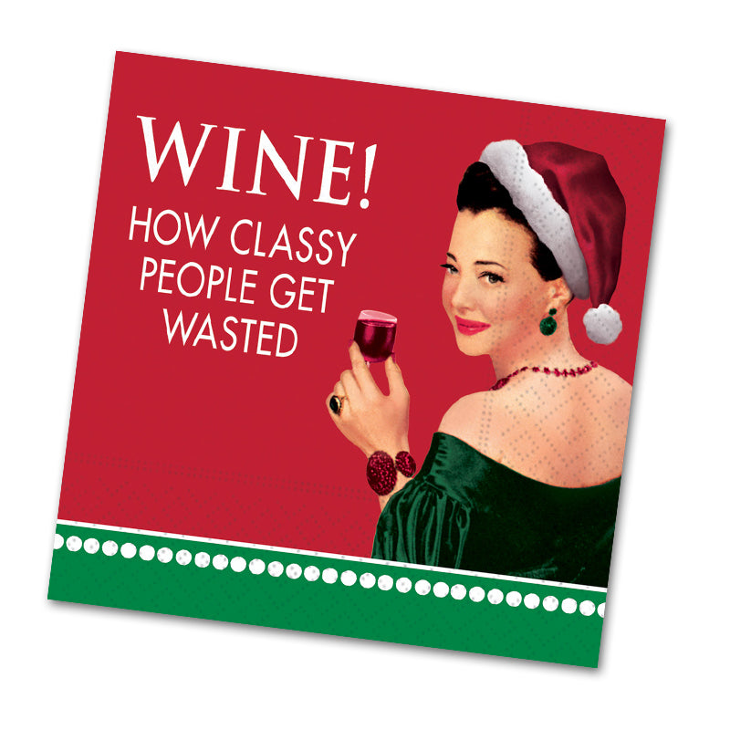 Classy People Christmas Funny Cocktail Napkin