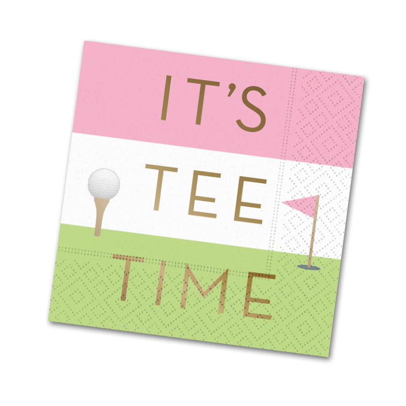 It's Tee Time, Golf Cocktail Napkins Foil Stamped