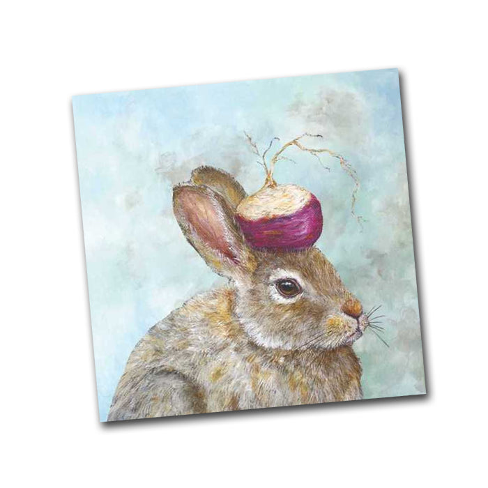 Turnip Guardian Rabbit Napkin by Vicki Sawyer - Beverage