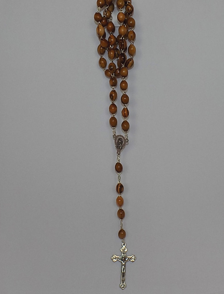 Olivewood Rosary with Oval Beads & Silver Cross
