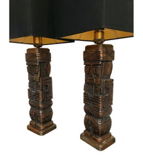 PAIR OF CARVED WOODEN TIKI LAMPS