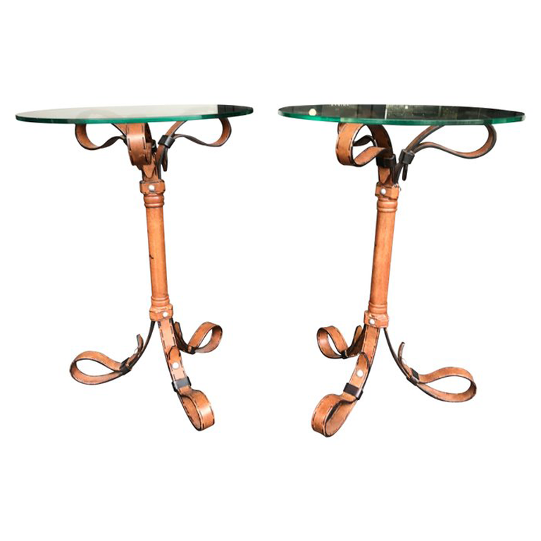 PAIR OF HERMES STYLE FAUX LEATHER STRAP SIDE TABLES