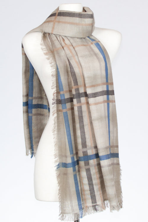 Plaid & Tie Dye Cotton Scarf