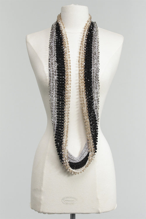 1 Sided Crystal Necklace Striped in Silver/Black/Beige C-NL1520STP-S16 - SLVBKBG
