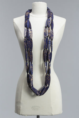 Hand Painted Long Flat 4 Strand in Blue/Gold C-JNL1507HP - BLUE/GLD
