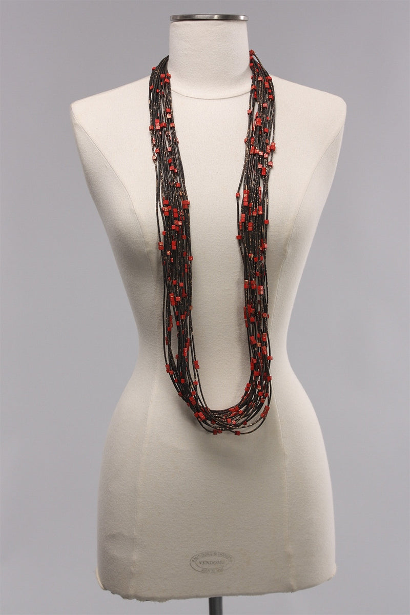 20 Rubber Strand Hand painted in Red/Gold  C-NL1631HP  - RED/GLD
