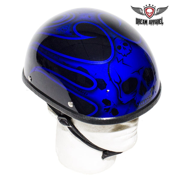 Shiny Blue Motorcycle Novelty Helmet With Burning Skull