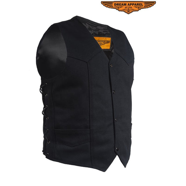 Mens Black Canvas Motorcycle Vest