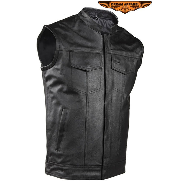 Mens Motorcycle Club Vest Made from leather 2 deep concealed gun pockets inside