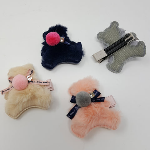 Fur Bear Pom Pom Hair Clip