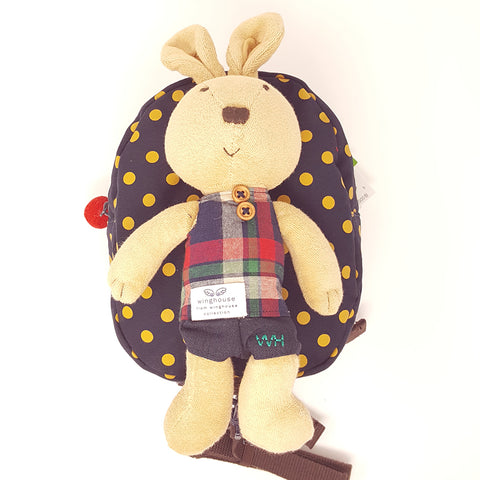 Harness backpack with detachable plush toy- Ink Dot Bunny