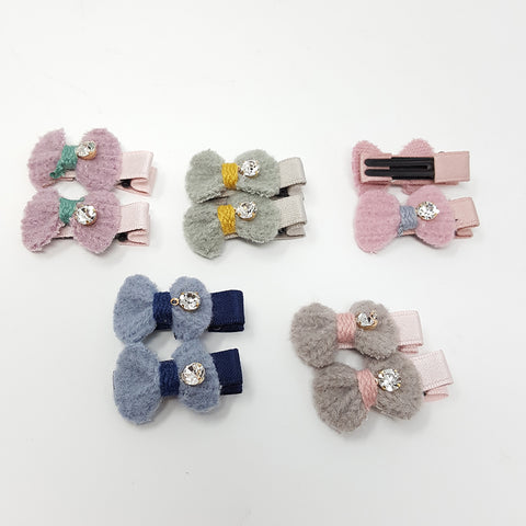 Brushed Knit Bow Clips (1 pair)