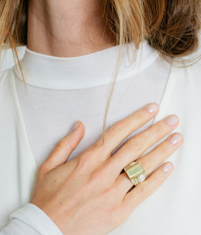 Ankole Horn & Pure Brass Statement Ring - Layered,  - Rose & Fitzgerald