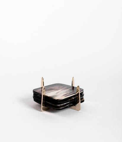 Pure Brass & Ankole Horn Coaster Set - Dark Horn,  - Rose & Fitzgerald