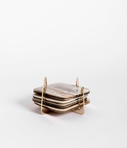 Pure Brass & Ankole Horn Coaster Set - Light Horn,  - Rose & Fitzgerald