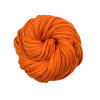 A skein of orange cotton t-shirt yarn on a white background