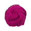 A skein of fuchsia pink cotton t-shirt yarn on a white background