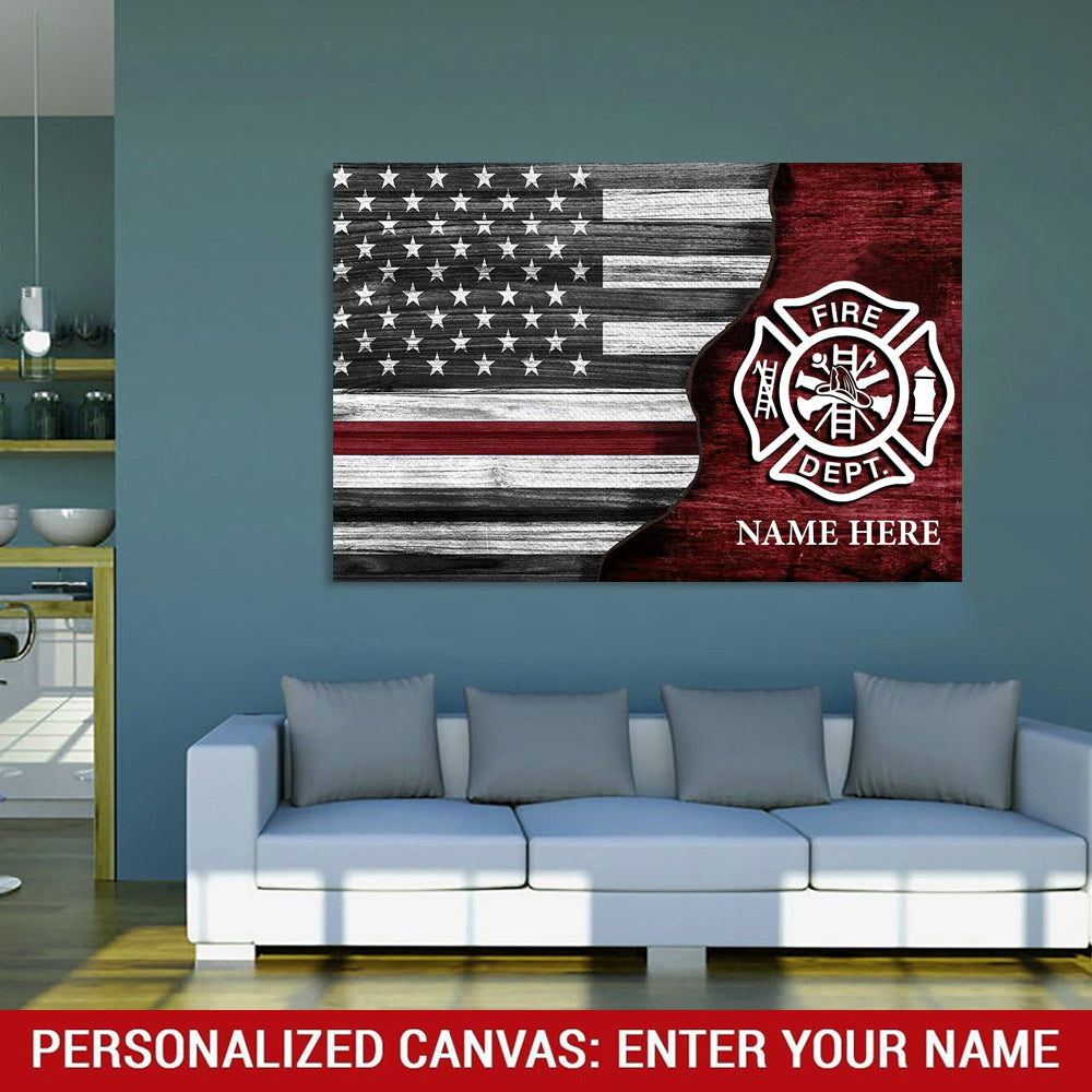 Half Flag - Firefighter - Personalized Canvas Wallart
