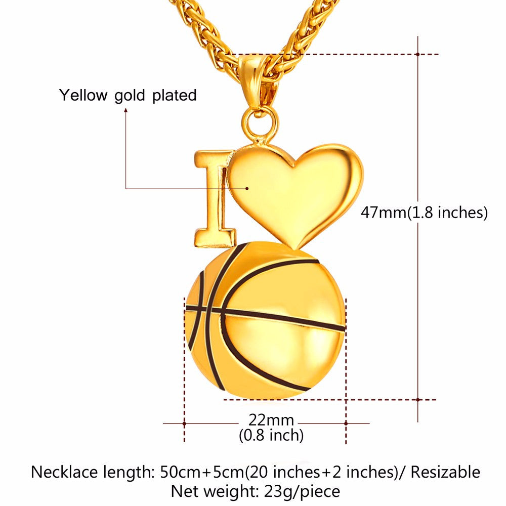 I Love Basketball Pendant Necklace For Women/Men