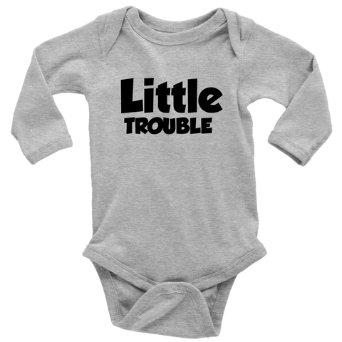 Long Sleeve Baby Bodysuit - Big/Little Trouble