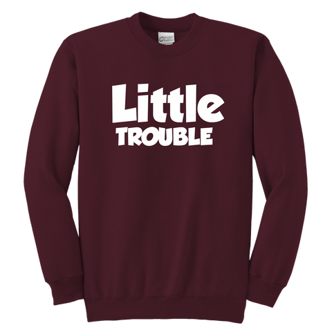 Youth Crewneck Sweatshirt - Big/Little Trouble - White Text
