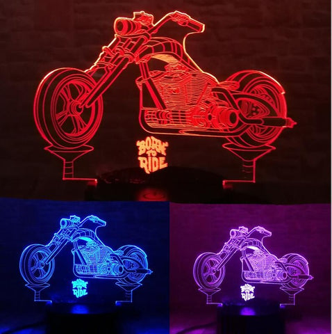 3D Cross-Country Motorcycle Optical Illusion Lamp