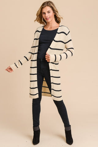 RIBBED UP OPEN CARDIGAN