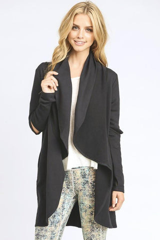CUTOUT SLEEVE OPEN CARDIGAN