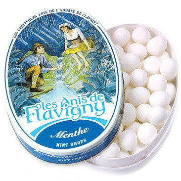 Les Anis de Flavigny Mint Flavored Hard Candy (1.75 oz) Lid Off at Angle