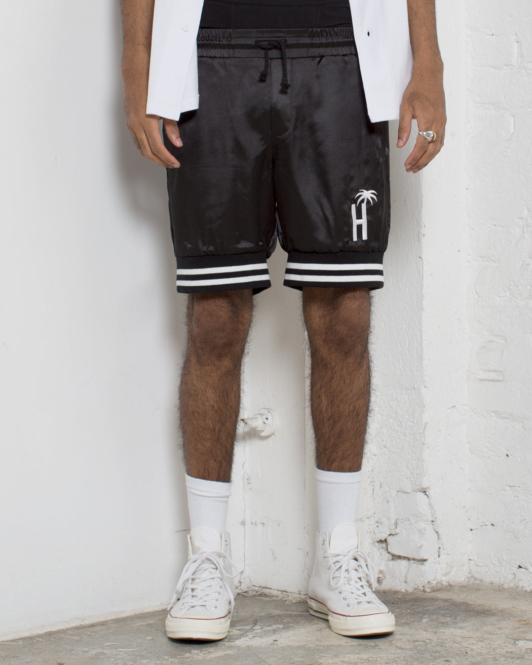 Varsity Palms Satin Shorts - Black