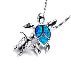 Opal Ocean Sea Turtle Family Necklace