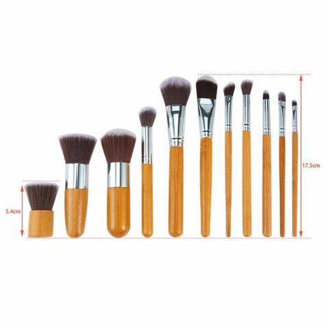 Professional Natural Bamboo Makeup Brushes - 11 Piece Set - OceanHelper