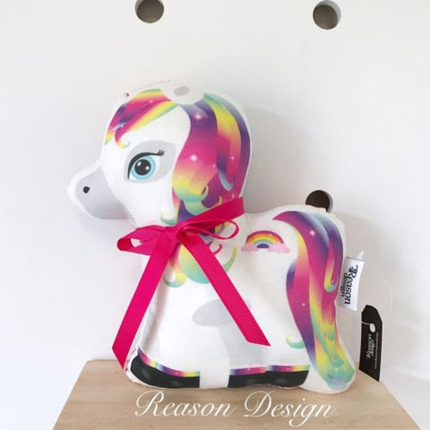 Small White Rainbow Pony Horse Stuffed Toy Cushion
