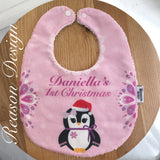 Personalised pink penguin bib
