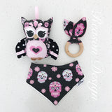 Pink and black sugar skull owl rattle, bib & teething ring set