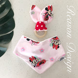 pink minnie mouse baby bandana bib and wooden ring teether set