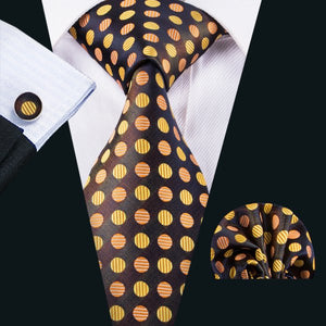 Black, Brown & Gold Polka Dot Men's Tie, Pocket Squares & Cufflinks Set.
