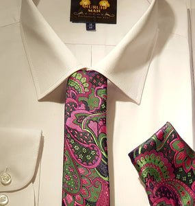 Multicolour Green and Pink Tie and Pocket Square