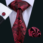 Burgundy Paisley Men's Tie, Hanky & Cufflinks Set.