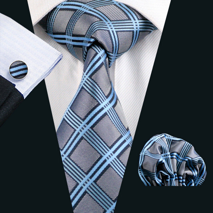 Silver blue, black & Grey Checked Pattern Men's Tie, Pocket Squares & Cufflinks Set.